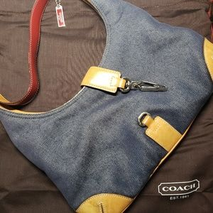 Vintage COACH Hobo Denim & Leather Shoulder Bag